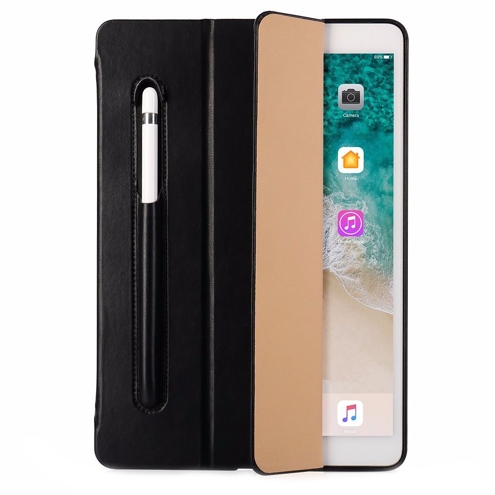 Husa piele fina microfibra, stand, suport pencil, smart cover, iPad 9.7 (iPad 6 / iPad 5) / iPad Air - Jison Case, Negru