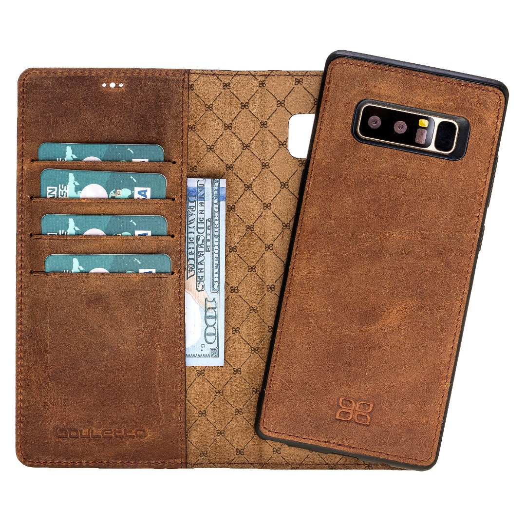 Husa piele naturala 2 in 1, tip portofel + back cover, Samsung Galaxy Note 8 - Bouletta Magic Wallet, Antique brown