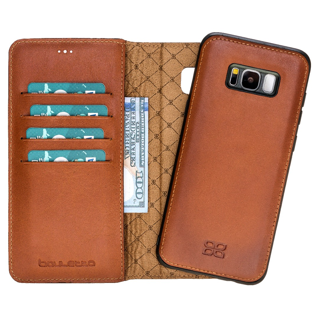 Husa piele naturala 2in1, portofel + back cover, Samsung Galaxy S8 Plus, Bouletta Magic Wallet, Burnished tan