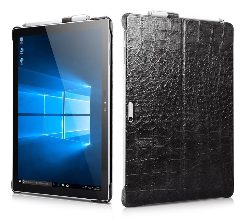 Husa piele naturala, tip back cover, suport Surface pen, Surface Pro 7 / 6 / 5 / 4 - iCarer Crocodile, Negru