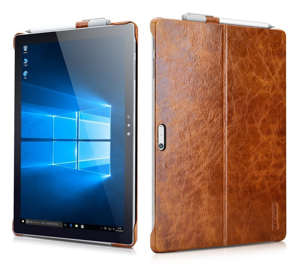 Husa piele naturala, tip back cover, suport Surface Pen, Surface Pro 7 / 6 / 5 / 4 - iCarer Oil Wax, Maro