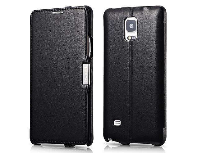 Husa din piele naturala, tip carte, Samsung Galaxy Note 4 - iCarer Luxury, Negru