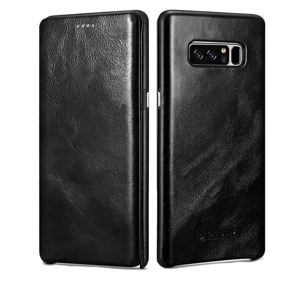 Husa piele naturala, tip carte cu clapeta curbata, Samsung Galaxy Note 8 - iCARER Vintage, Negru