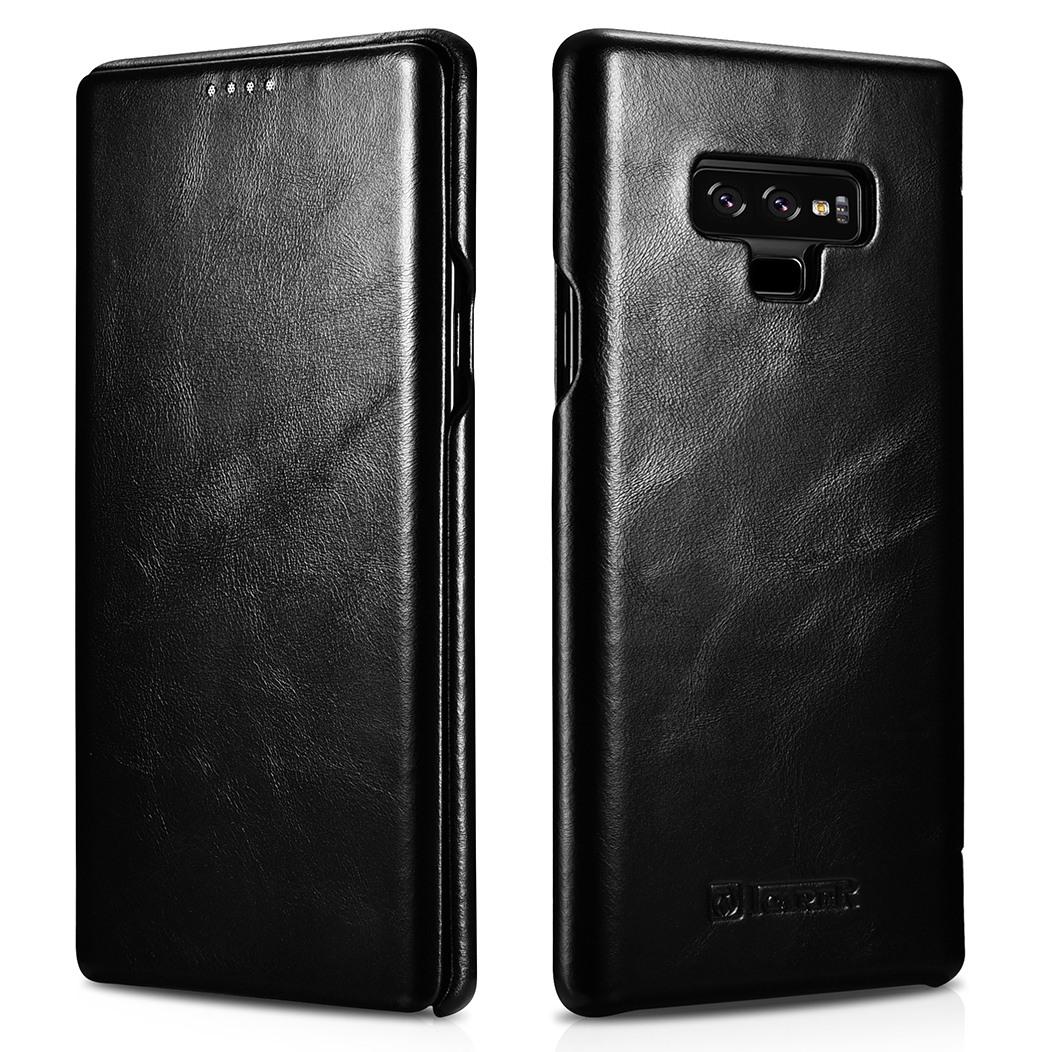 Husa din piele naturala, tip carte cu clapeta curbata, Samsung Galaxy Note 9 - iCARER Vintage, Negru