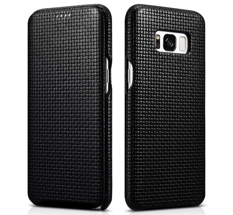 Husa din piele naturala, tip carte, Samsung Galaxy S8 Plus - iCarer Woven, Negru