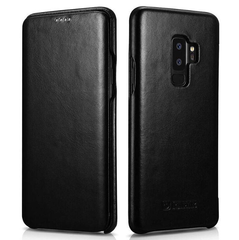 Husa din piele naturala tip carte cu clapeta curbata, Samsung Galaxy S9 Plus - iCARER Vintage, Negru