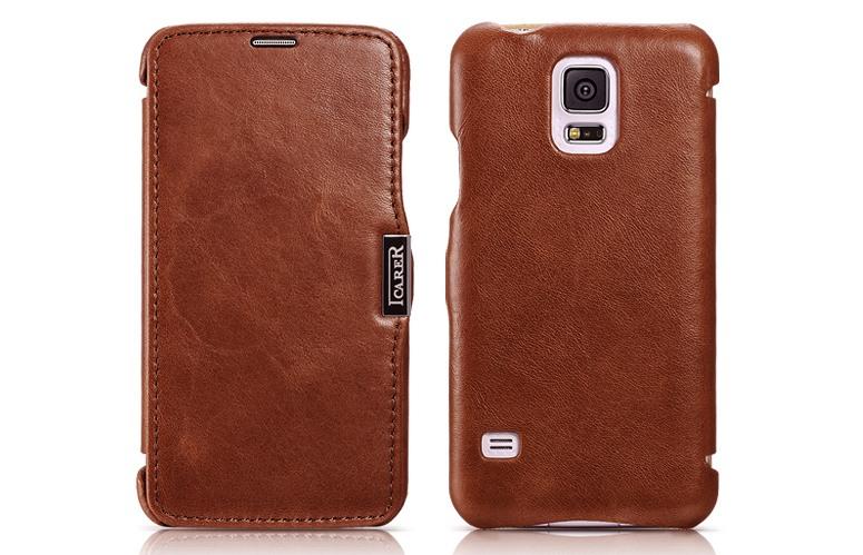 Husa din piele naturala, tip carte, Samsung Galaxy S5 / S5 Neo - iCARER Vintage, Maro coniac