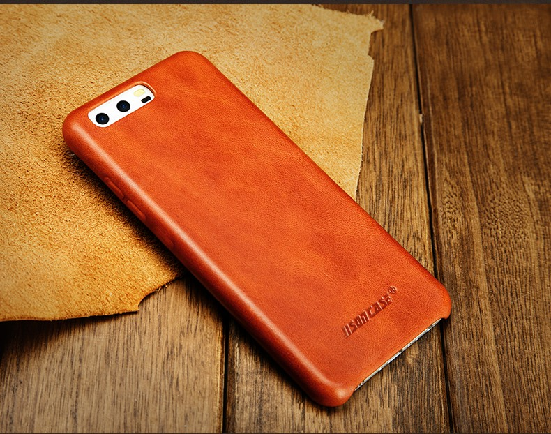 Husa slim din piele naturala, fara clapeta, Huawei P10 - Jison Case Classic, Maro coniac