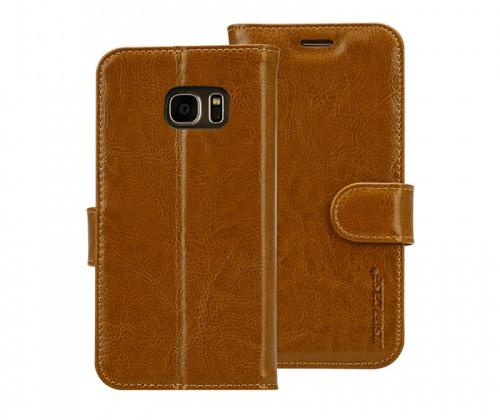 Husa piele fina naturala, tip portofel, suport din silicon, Samsung Galaxy S7 - Jison case, Maro
