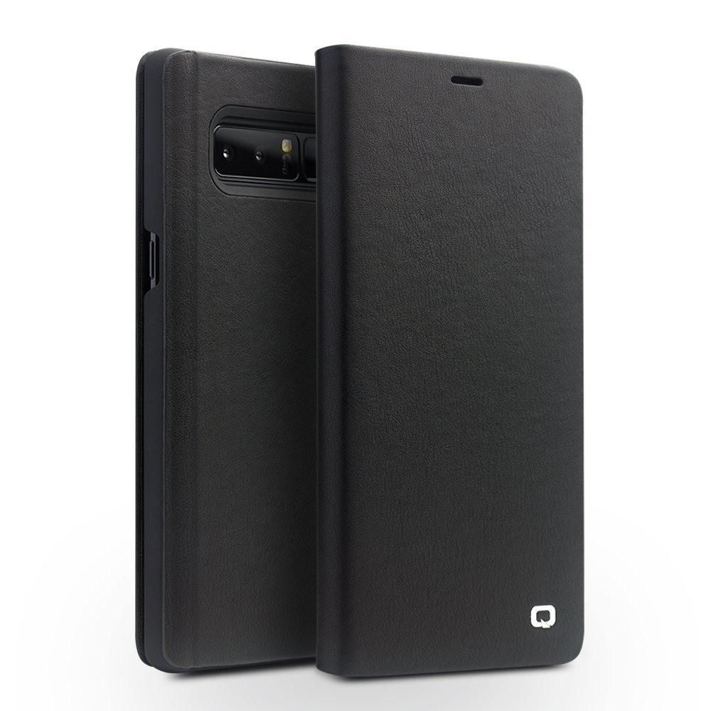 Husa din piele moale naturala, functie stand, Samsung Galaxy Note 8 - Qialino, Negru