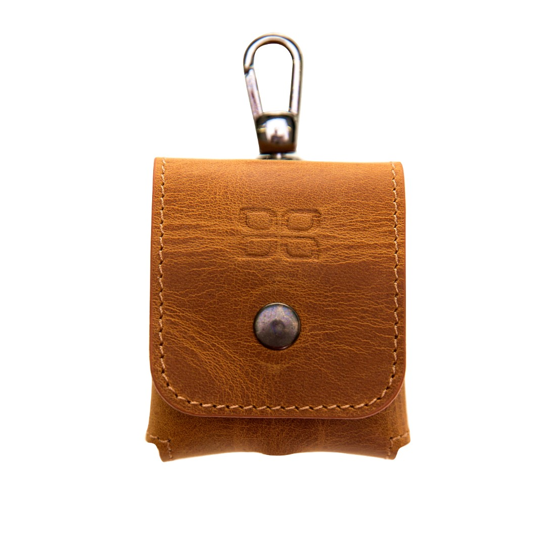 Husa / carcasa din piele naturala premium Bouletta, AirPods / AirPods 2, carabina metalica - Bouletta, Antique golden brown