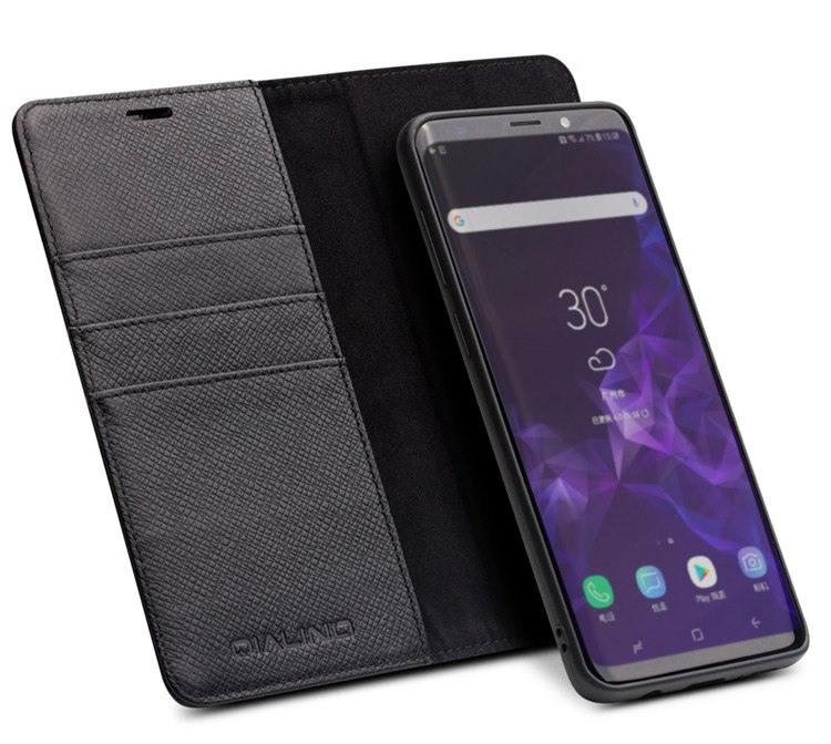 Husa multifunctionala 2 in 1 piele naturala, tip carte + back cover, stand, Samsung Galaxy S9 Plus - Qialino, Negru