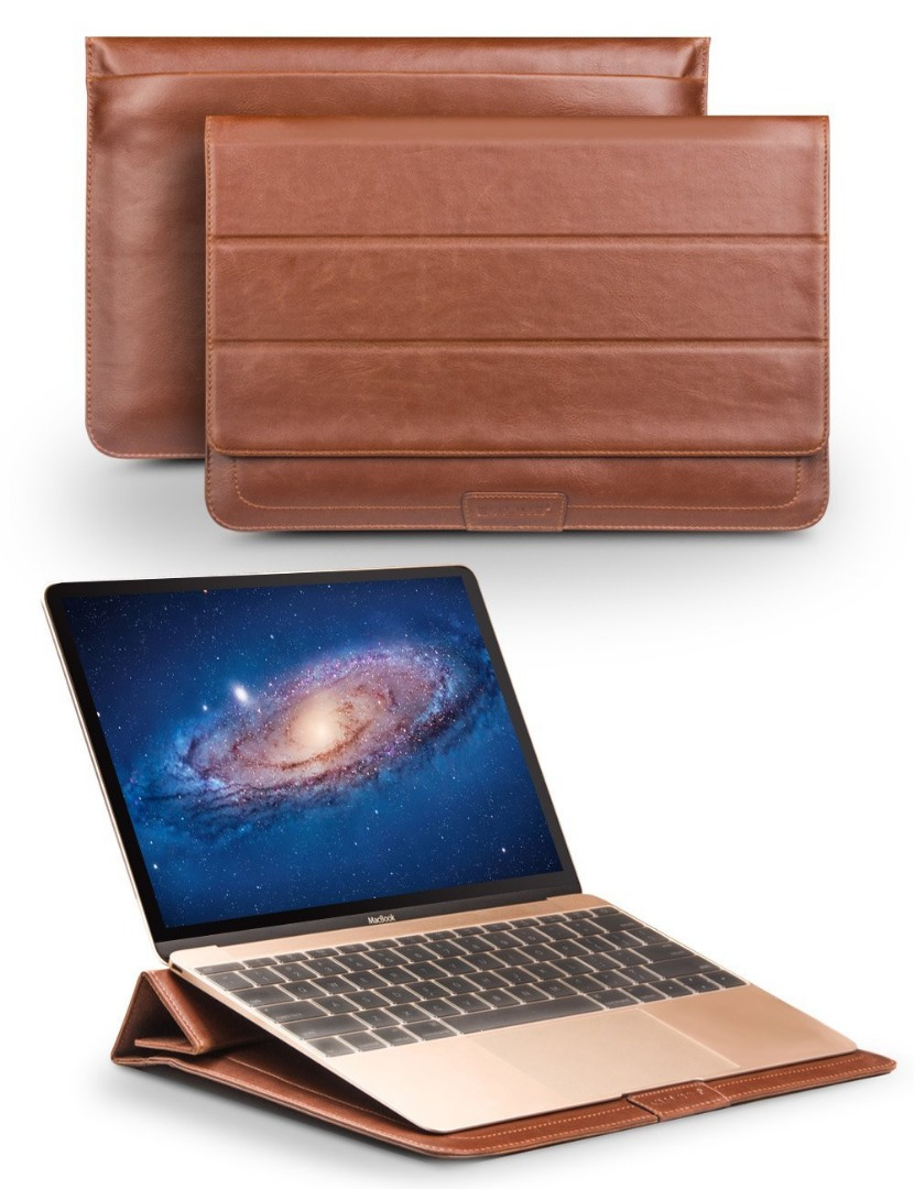 Husa piele naturala, tip plic, inchidere magnetica - Apple Macbook Air 11 inch / Macbook 12 inch / Ultrabook 12 inch - Qialino Sleeve, Maro