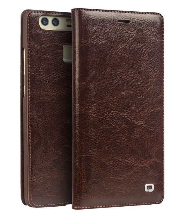 Husa din piele fina naturala, tip carte, cu buzunar card, Huawei Ascend P9 - Qialino Classic Wallet, Maro coffee