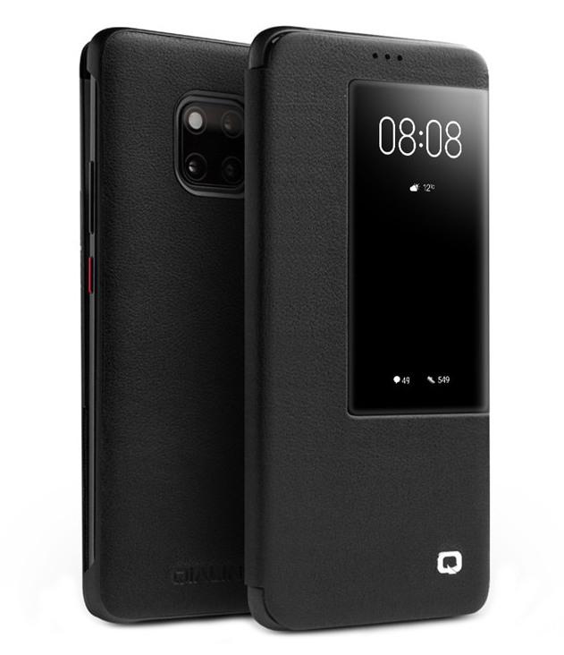 Husa slim din piele naturala, smart cover, Huawei Mate 20 Pro - Qialino Smart Luxury, Negru