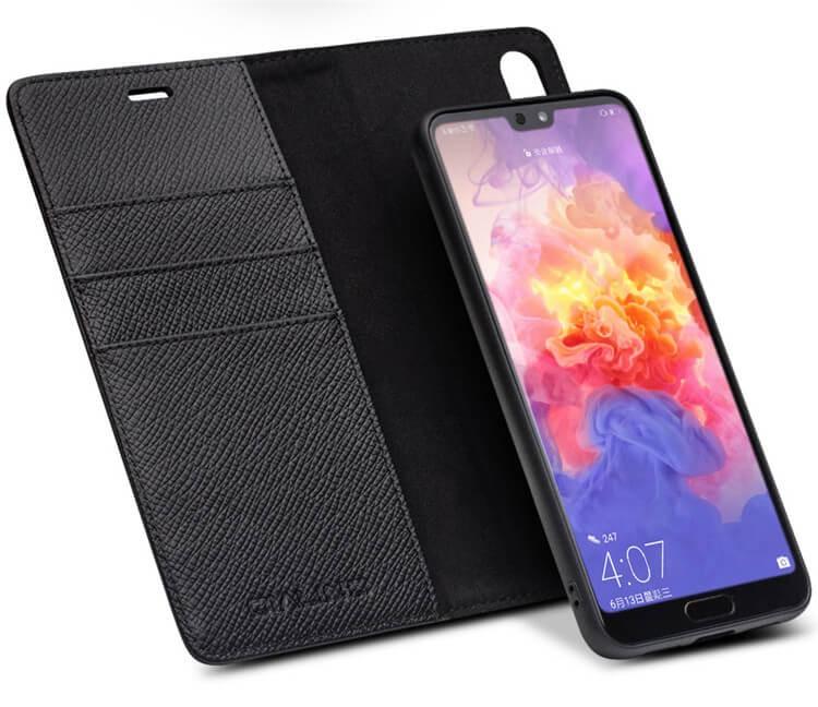 Husa multifunctionala 2 in 1 piele naturala, tip carte + back cover, stand, Huawei P20 - Qialino, Negru