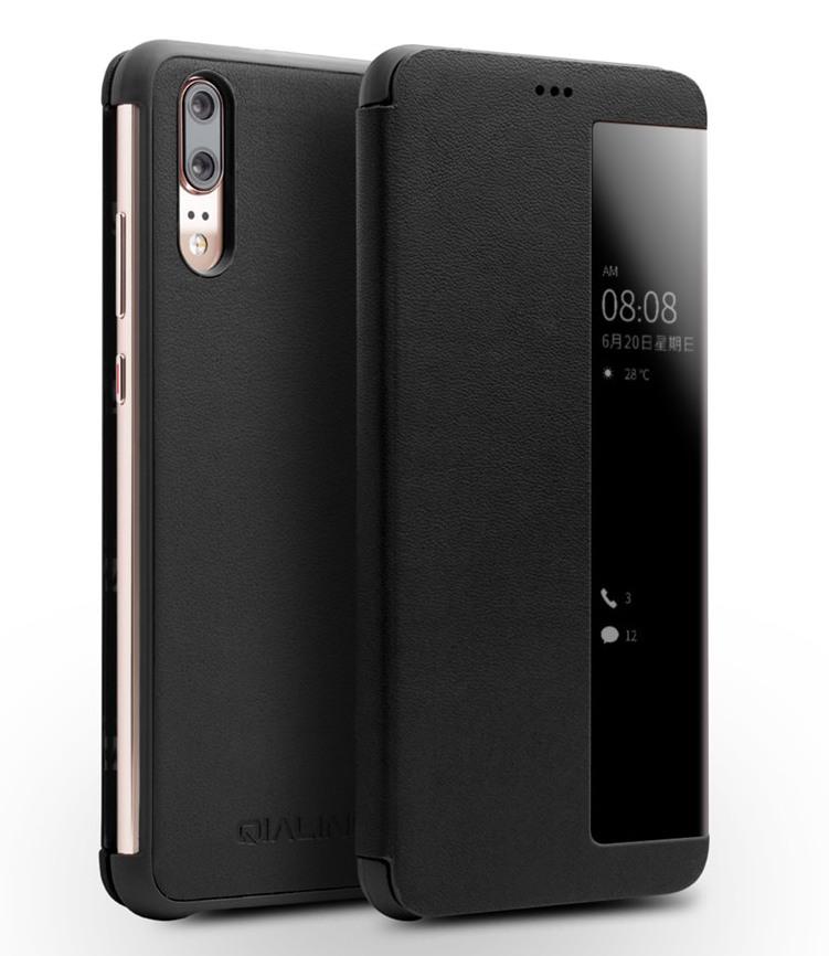 Husa slim din piele naturala, smart cover, Huawei P20 - Qialino Smart Luxury, Negru