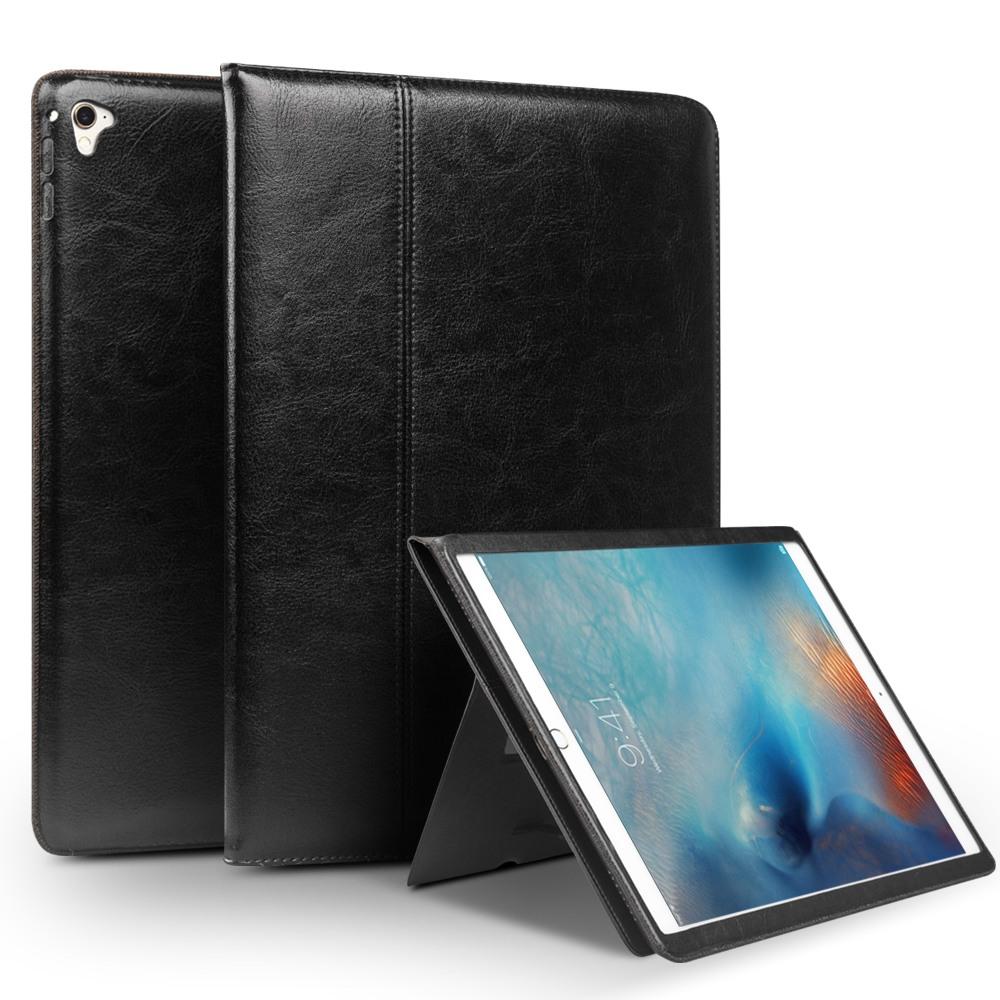 Husa piele naturala cu rama completa, stand + suport mana, smart cover, iPad 9.7 (iPad 6 / iPad 5) / iPad Air 2 - Qialino Classic, Negru