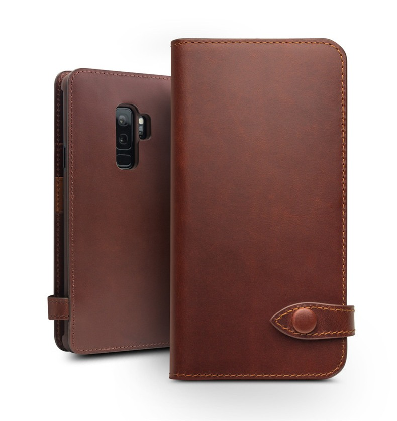 Husa piele naturala, inchidere sigura cu capsa, cu buzunare bani si carduri, Samsung Galaxy S9 Plus - Qialino, Maro coffee