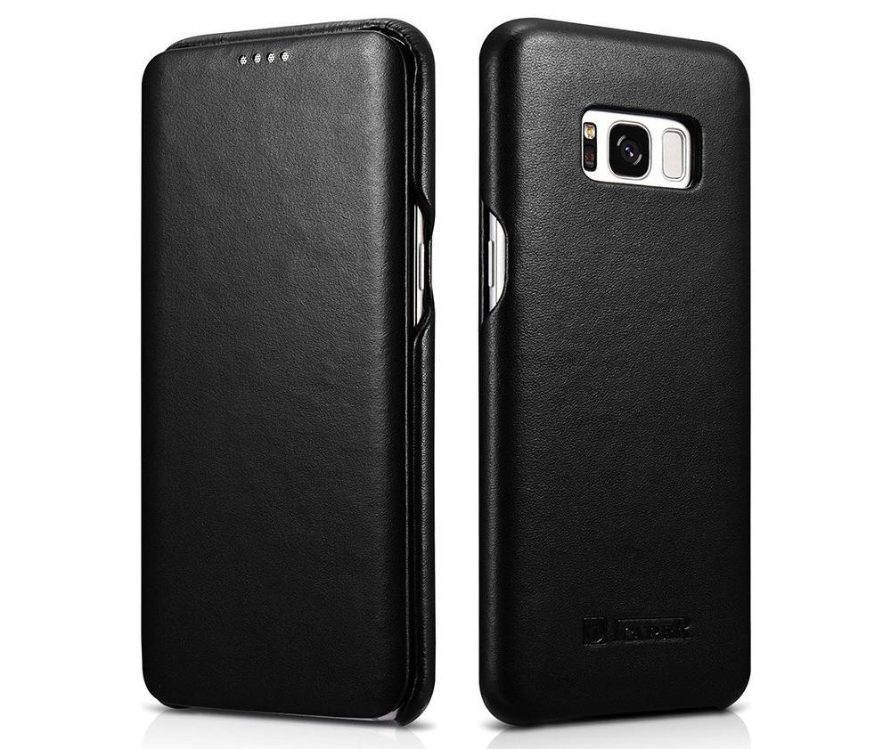 Husa din piele naturala, tip carte, Samsung Galaxy S8 Plus - iCarer Luxury, Negru