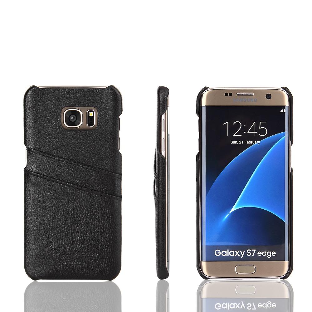 Husa slim din piele, tip back cover, cu buzunarase, Samsung Galaxy S7 Edge - CaseMe, Negru