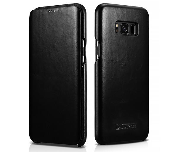 Husa din piele naturala, tip carte cu clapeta curbata, Samsung Galaxy S8 - iCARER Vintage, Negru