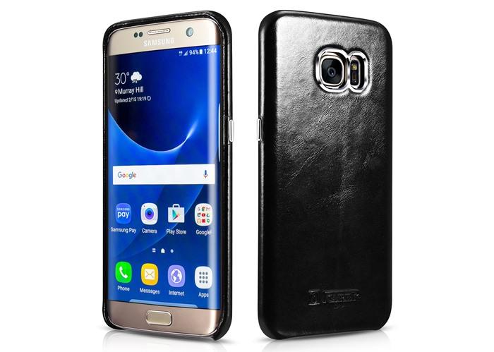 Husa din piele naturala, tip back cover, Samsung Galaxy S7 Edge - iCarer Transformers, Negru