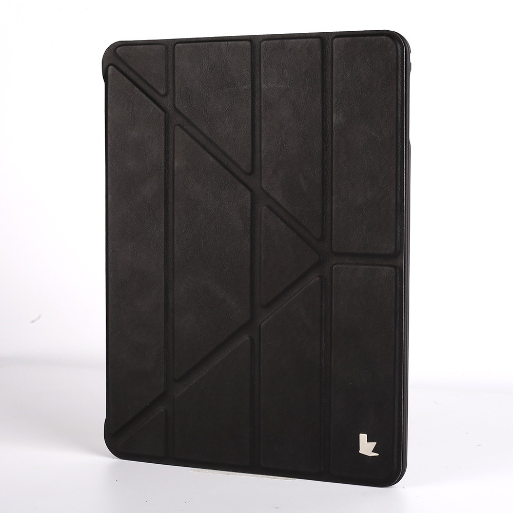 Husa versatila piele microfibra, stand, suport pencil integrat, smart cover, iPad 9.7 (iPad 6 / iPad 5) / iPad Air - Jison Case, Negru