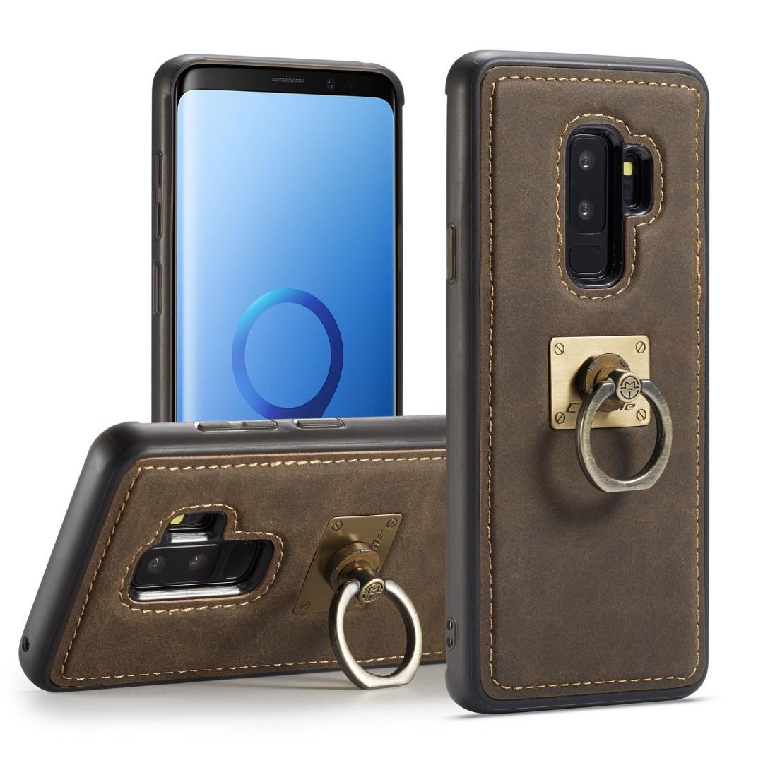 Husa slim piele, cu inel detasabil, back cover, Samsung Galaxy S9 Plus - CaseME, Maro coffee