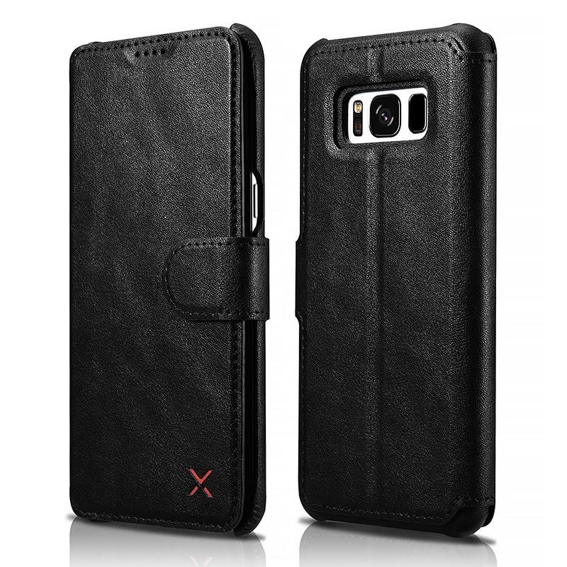 Husa slim piele tip portofel, functie stand, inchidere cu banda magnetica, Samsung Galaxy S8 - Xoomz by iCarer Wallet, Negru