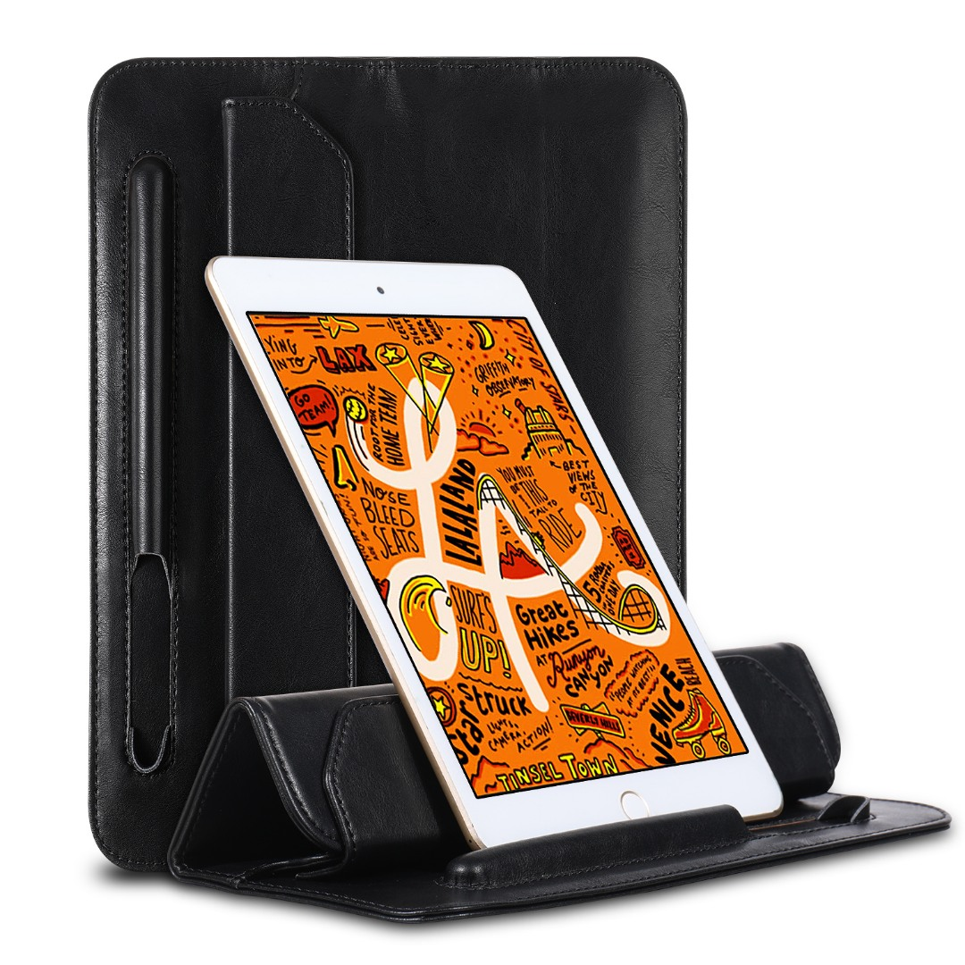 Husa piele fina microfibra tip plic, functie stand, suport pencil, iPad Mini 5 (2019) / 4 / 3 / 2 / 1 - Jison Case Pouch, Negru