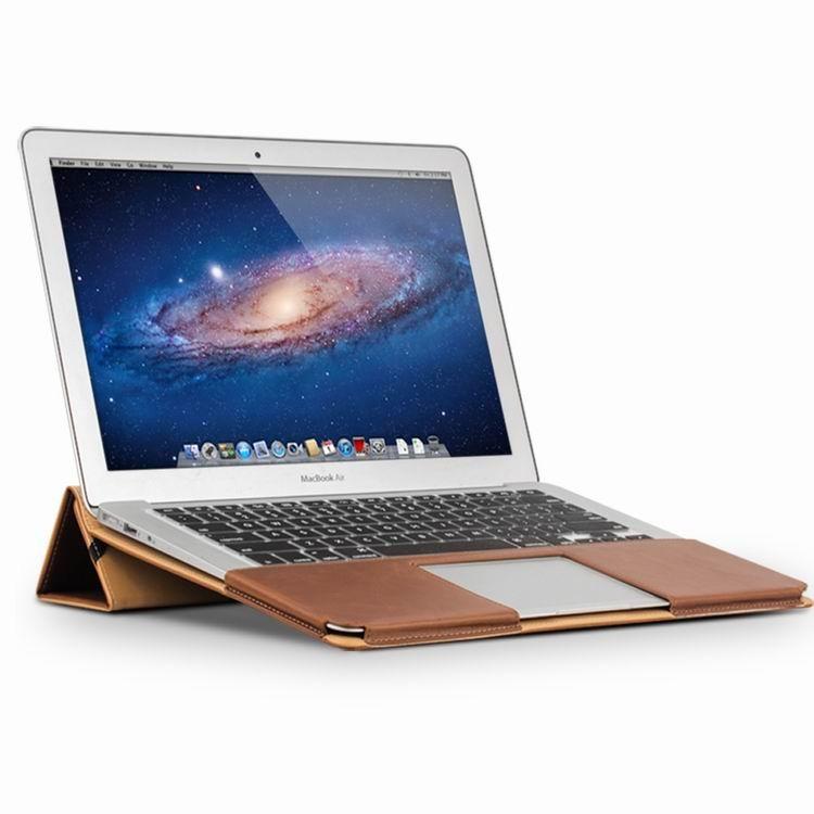 Husa din piele naturala, functie stand, protectie laptop completa, MacBook Air 13 inch - Qialino Folio, Maro