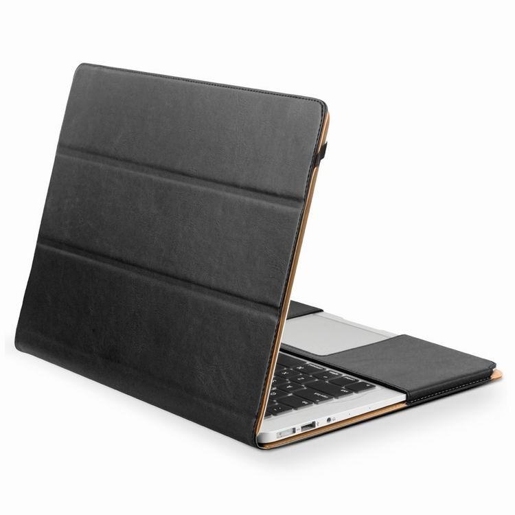 Husa din piele naturala cu functie stand, protectie laptop completa, MacBook Pro / Retina 13 inch (2012 - 2015) - Qialino Folio, Negru
