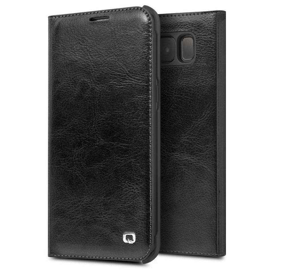 Husa din piele naturala fina, tip carte, cu buzunar card, Samsung Galaxy S8 Plus - Qialino Classic Wallet, Negru