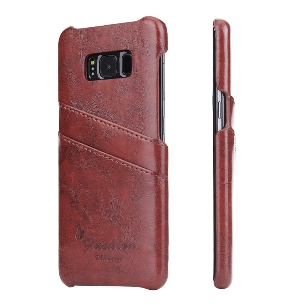 Husa slim piele fina cu textura vintage, tip back cover, Samsung Galaxy S8 - CaseMe, Maro coniac