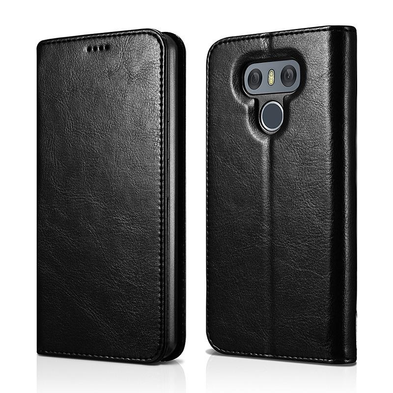 Husa slim piele fina, inchidere magnetica, tip carte, LG G6 - Xoomz by iCarer Wallet, Negru