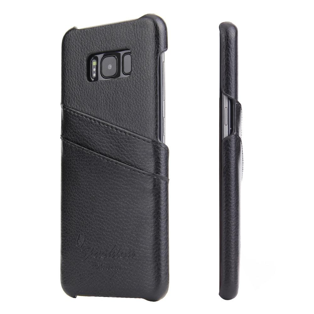Husa slim din piele, tip back cover, cu buzunarase - Samsung Galaxy S8 - CaseMe, Negru