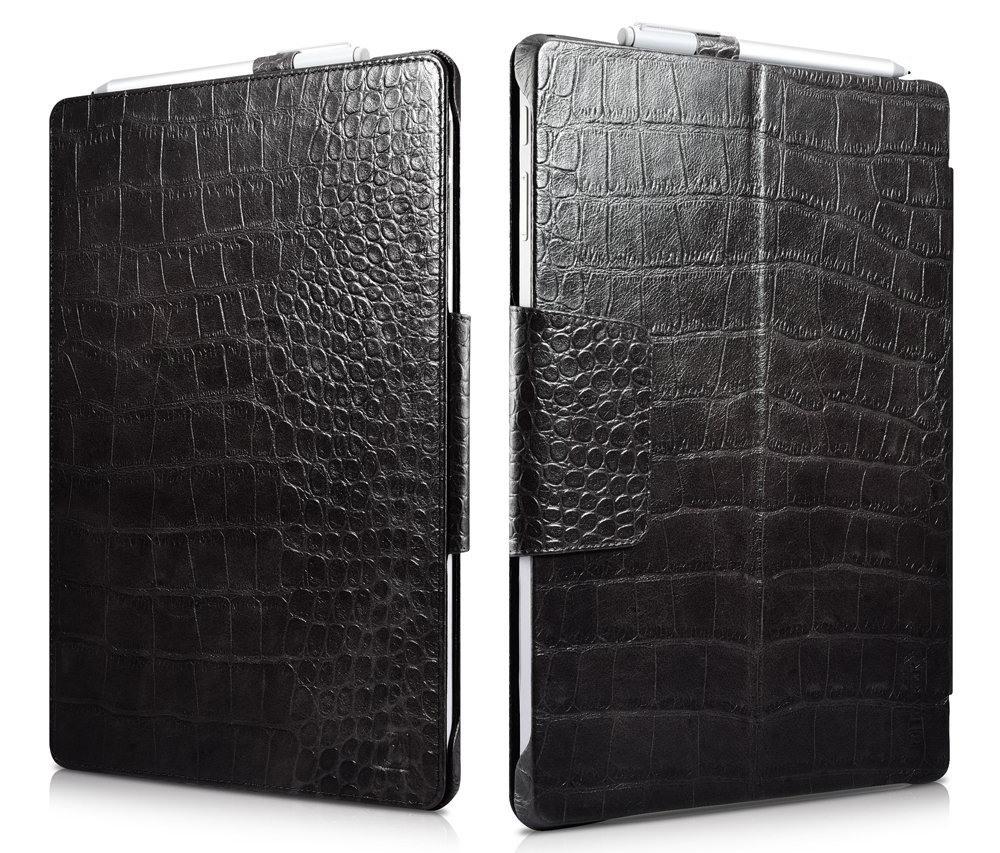 Husa piele naturala, suport Surface Pen, Microsoft Surface Pro 7 / 6 / 5 / 4 - iCarer Crocodile book, Negru