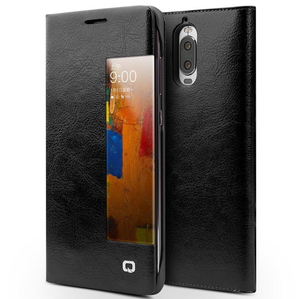 Husa slim din piele fina naturala, smart cover, Huawei Mate 9 Pro - Qialino Smart Leather, Negru