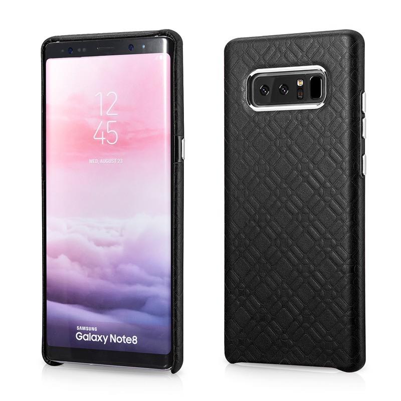 Husa din piele naturala, tip back cover, Samsung Galaxy Note 8 - iCarer Check Luxury, Negru