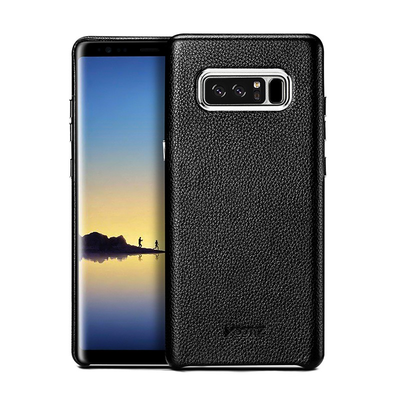 Husa din piele naturala, tip back cover, Samsung Galaxy Note 8 - Xoomz by iCarer Litchi, Negru