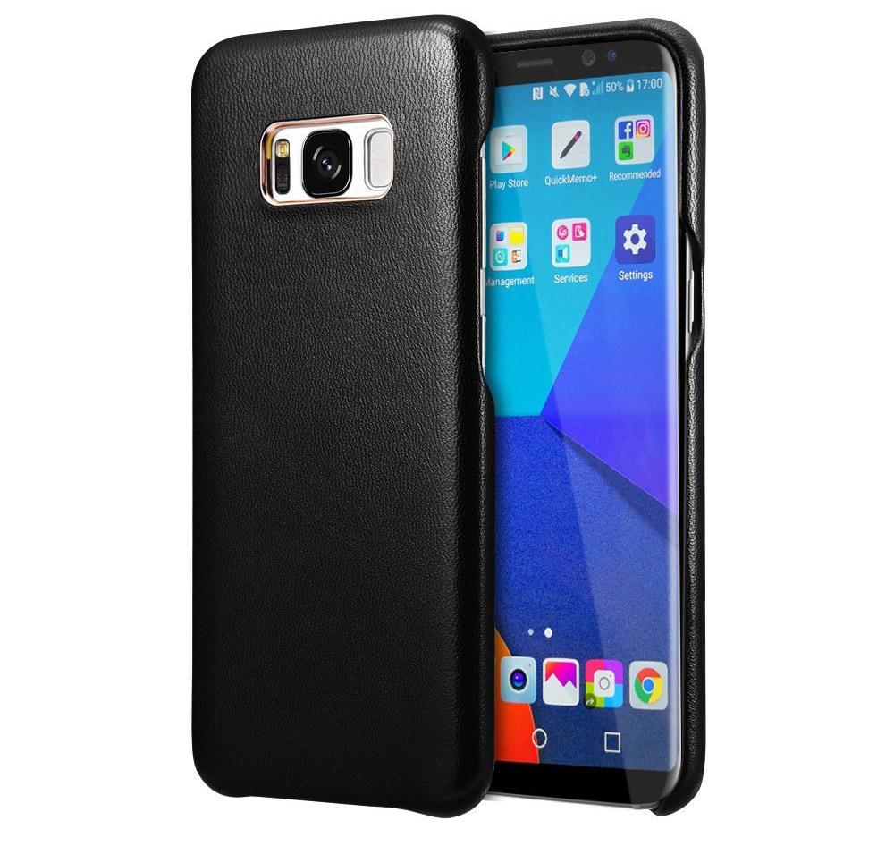 Husa slim, usoara din piele naturala de miel, tip back cover, Samsung Galaxy S8 - Xoomz by iCarer Lamb, Negru