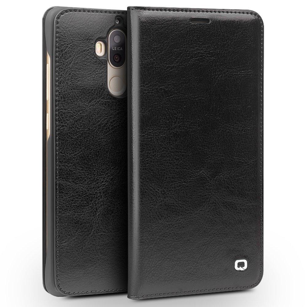 Husa din piele fina naturala, tip carte, cu buzunar card, Huawei Mate 9 - Qialino Classic Wallet, Negru