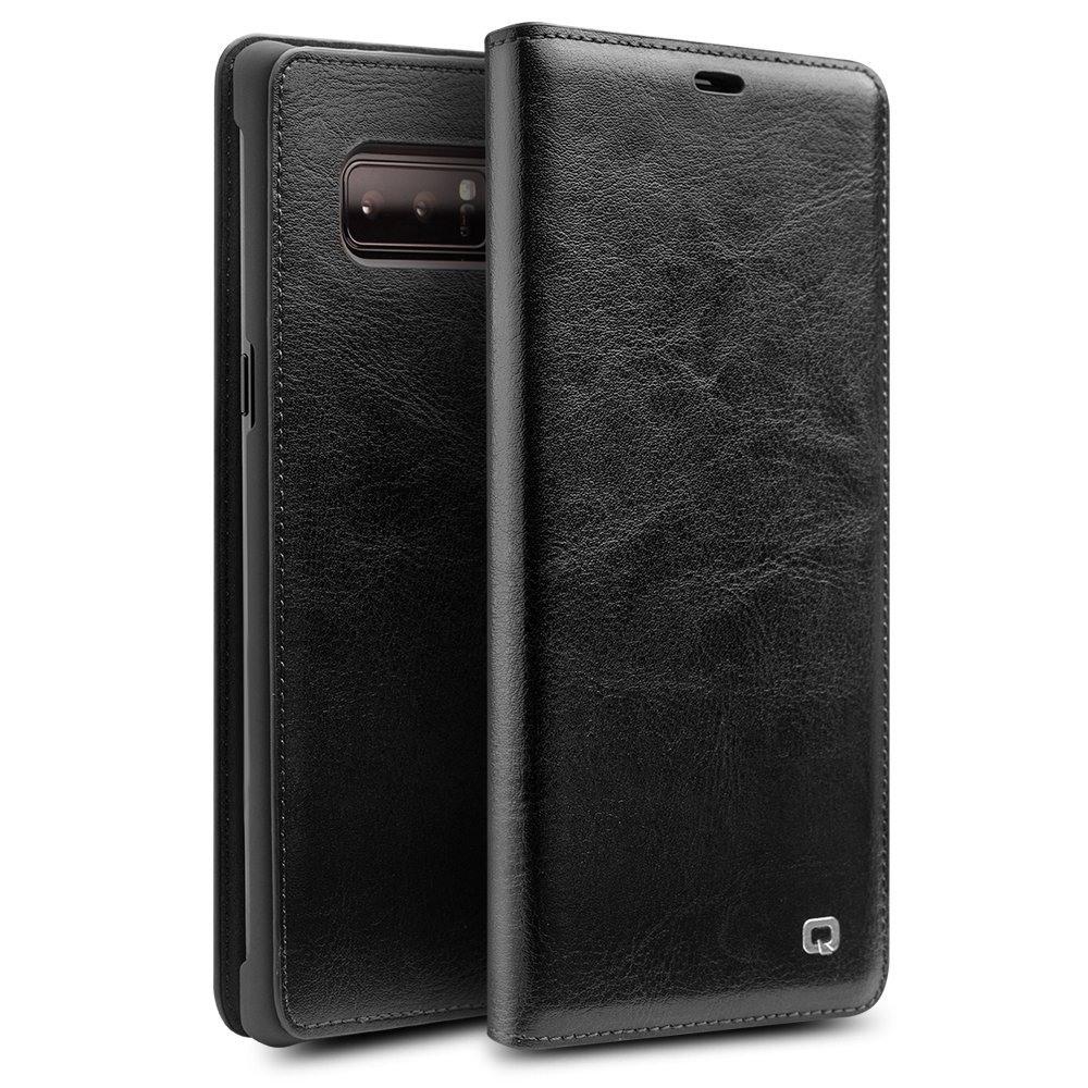 Husa slim din piele fina tip carte, cu buzunar card, Samsung Galaxy Note 8 - Qialino, Negru