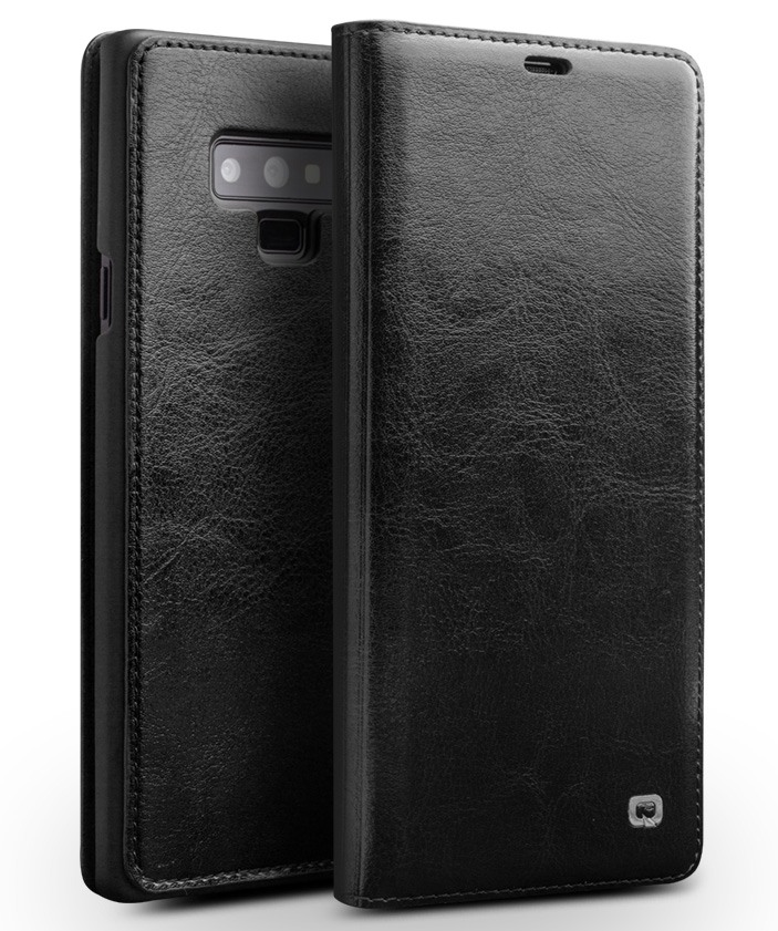 Husa slim din piele fina naturala tip carte, cu buzunar card, Samsung Galaxy Note 9 - Qialino, Negru