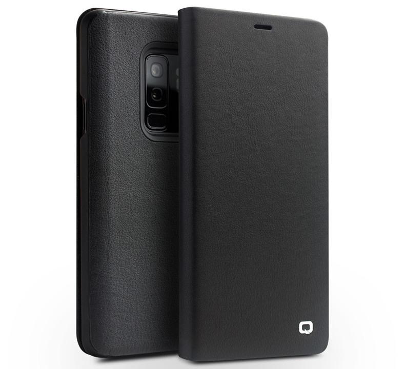 Husa din piele moale naturala, functie stand, Samsung Galaxy S9 Plus - Qialino, Negru