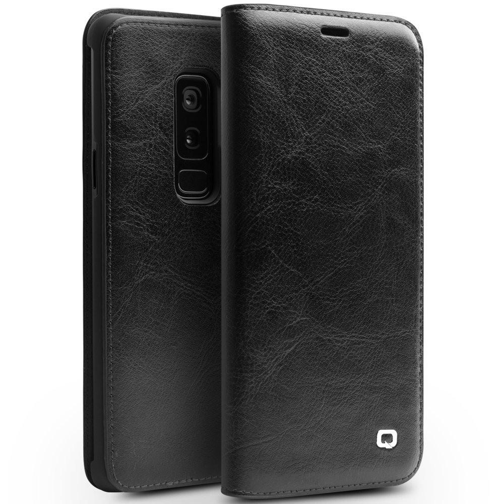 Husa din piele fina naturala tip carte, cu buzunar card, Samsung Galaxy S9 Plus - Qialino Classic Wallet, Negru