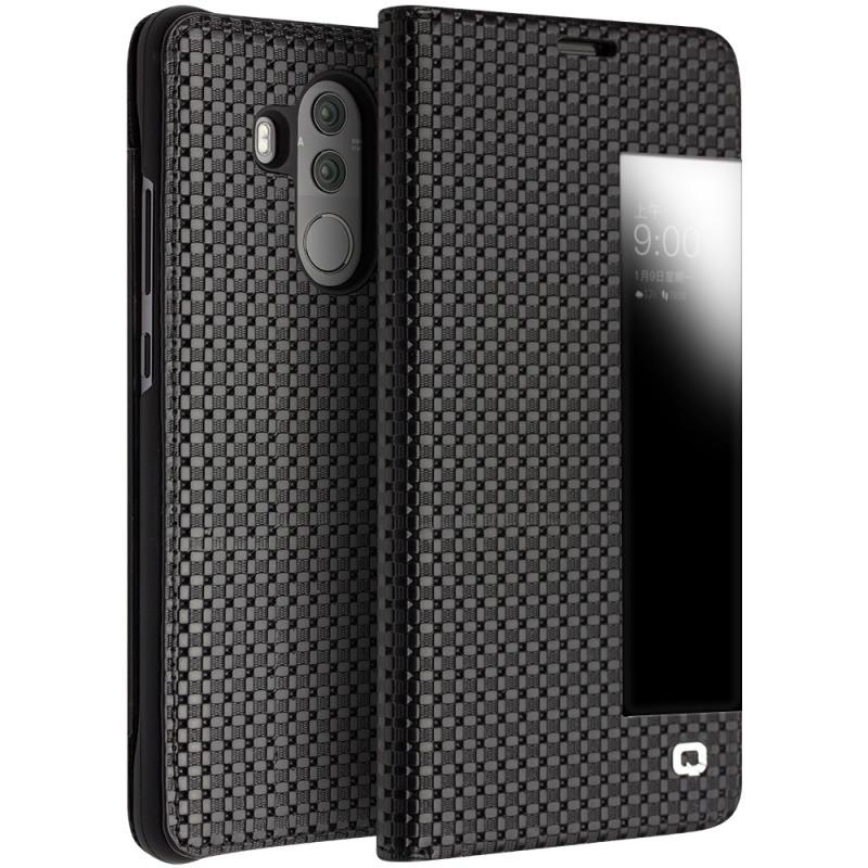 Husa slim din piele naturala, smart cover, Huawei Mate 10 Pro - Qialino Grid Leather, Negru