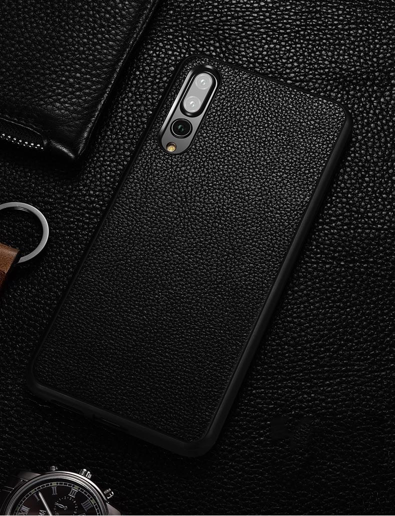 Husa slim din piele naturala, back cover, Huawei P20 Pro - Xoomz by iCarer, Negru