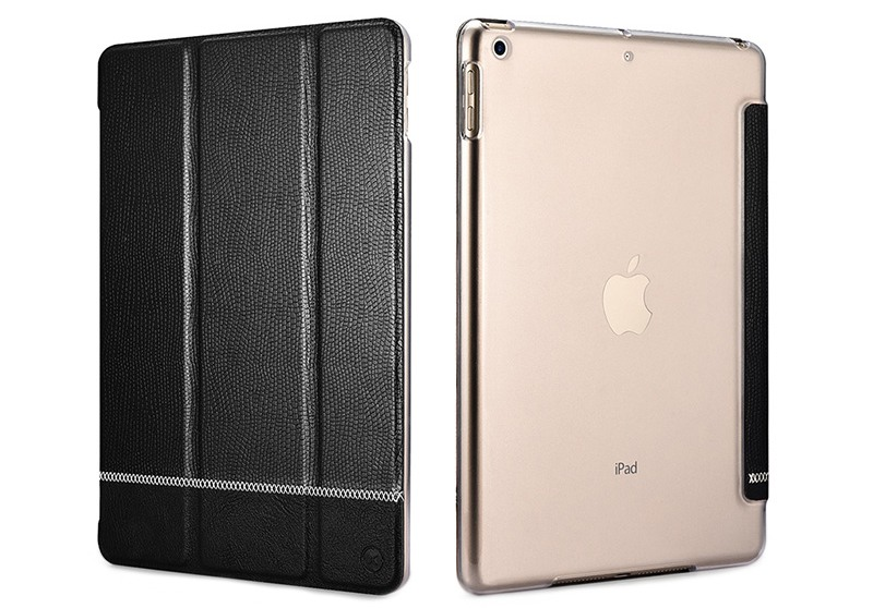 Husa slim cu spate transparent, smart cover, functie stand, iPad 9.7 (iPad 6 / iPad 5) - Xoomz by iCarer Shining, Negru